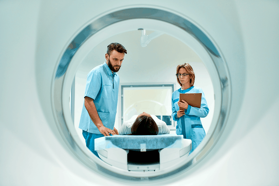 Patient prepared for MRI to scan for brain tumors